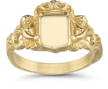 Royal Mermaid Signet Ring, 14K Yellow Gold