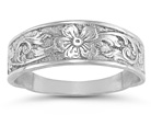 Antique-Style Paisley Flower Band, 14K White Gold