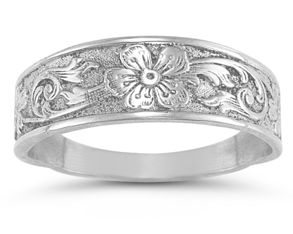 Vintage Paisley Flower Band in Sterling Silver