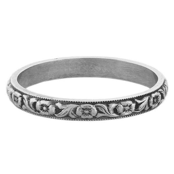 Sterling Silver Circa 1800s Vintage Flower Wedding Band