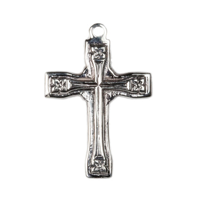 Floral Design Vintage Style Cross in Sterling Silver