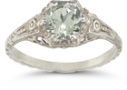 Green Amethyst Vintage Floral Ring, 14K White Gold