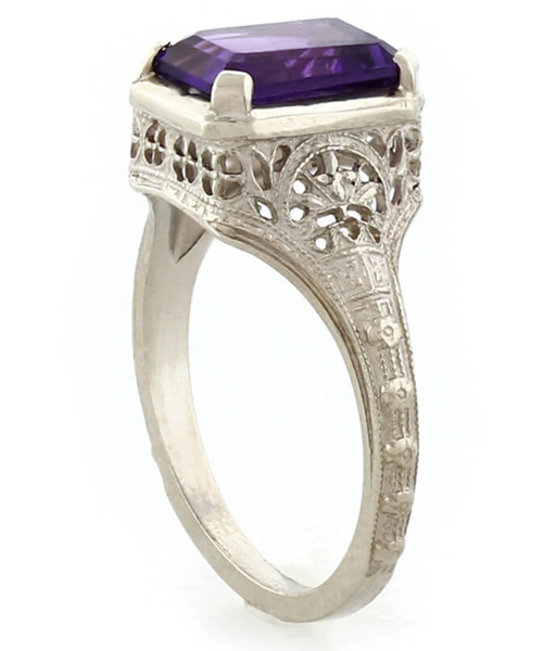 Pure Devotion Vintage Amethyst Ring in 14K White Gold