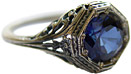 Vintage Octagonal Floral Blue Sapphire CZ Ring in Sterling Silver