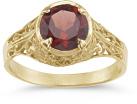 Red Garnet Antique-Style Filigree Ring, 14K Gold