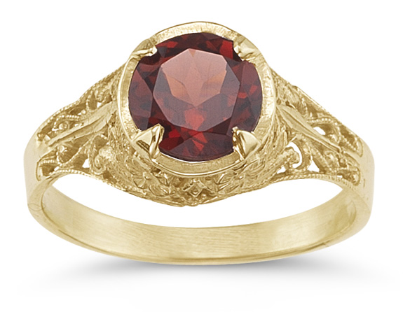 Red Garnet Antique-Style Filigree Ring, 14K Gold
