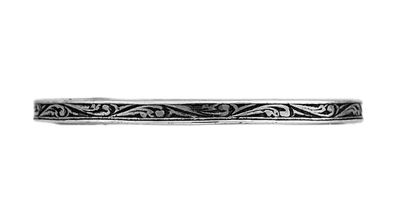 Thin Vintage-Style Paisley Band in Sterling Silver