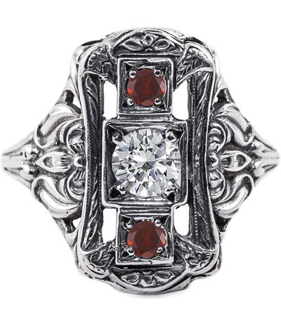 Victorian Style Ruby and Diamond Three Stone Vintage Ring, Sterling Silver