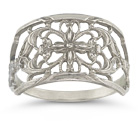 Vintage Filigree Flower Band, 14K White Gold