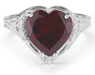 Vintage Filigree Garnet Heart Ring in 14K White Gold