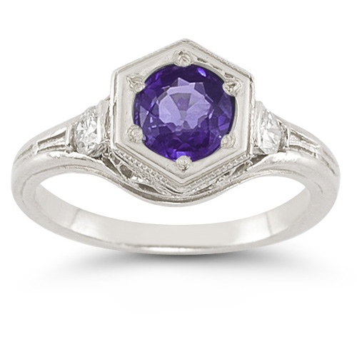 Roman Art Deco Amethyst and White Sapphire Ring in .925 Sterling Silver