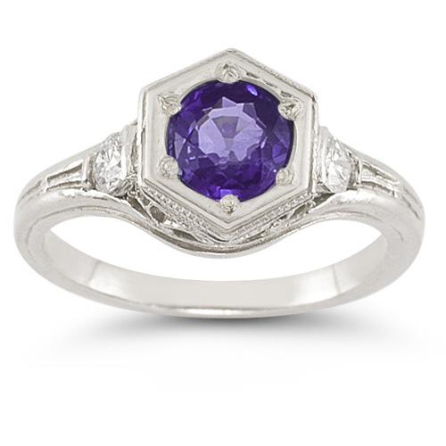 Amethyst | Sapphire | Sterling | Silver | White | Ring | Art