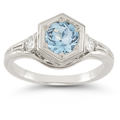 Roman Art Deco Blue and White Topaz Ring in .925 Sterling Silver