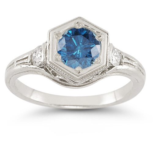 0.95 Carat Roman Art Deco Blue and White Diamond Ring