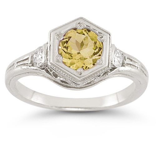 Roman Art Deco Citrine and White Sapphire Ring in .925 Sterling Silver