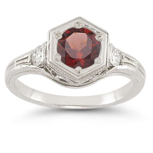 Roman Art Deco Garnet and White Sapphire Ring in .925 Sterling Silver