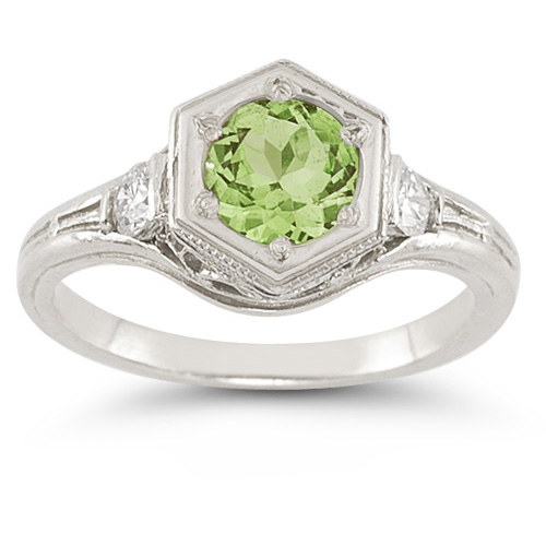 Roman Art Deco Peridot and White Sapphire Ring in .925 Sterling Silver