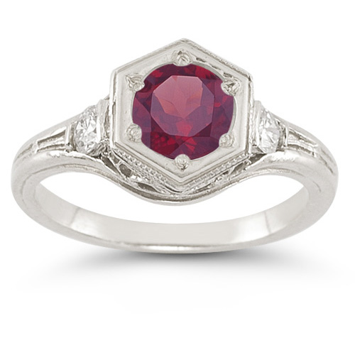 Roman Art Deco Rhodolite Garnet and Diamond Ring