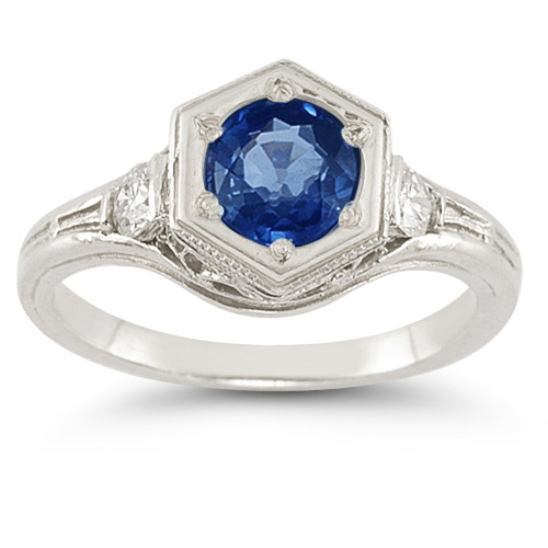 Roman Art Deco Sapphire and Diamond Ring - Size 7 1/2