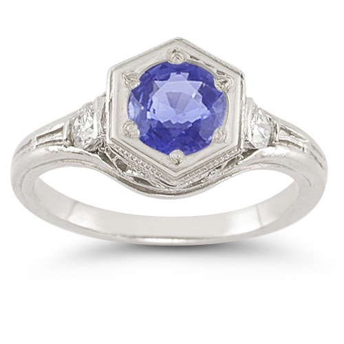 Roman Art Deco Tanzanite and Diamond Ring