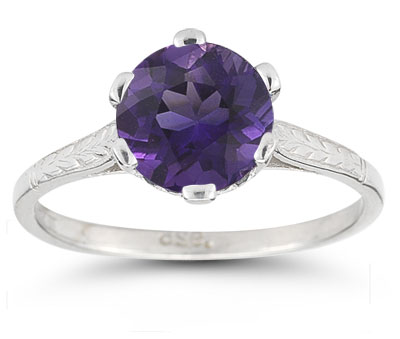 Vintage Vine Amethyst Ring in 14K White Gold