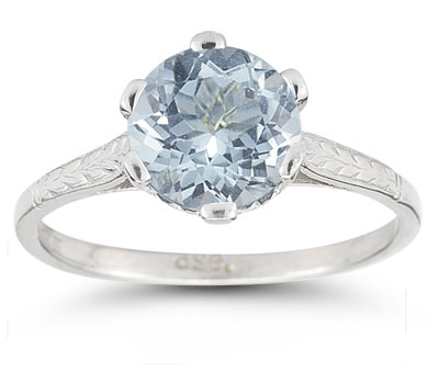 Vintage Vine Aquamarine Ring in 14K White Gold