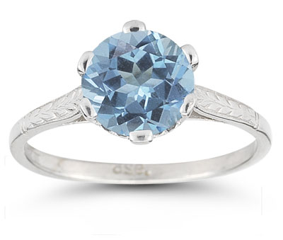 Vintage Vine Blue Topaz Ring in 14K White Gold
