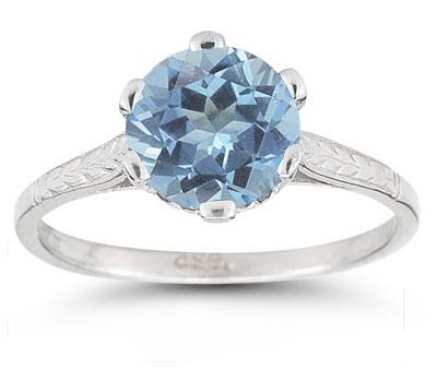 Sterling Silver Vintage Floral Blue Topaz Ring