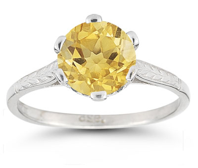 Vintage Vine Citrine Ring in 14K White Gold