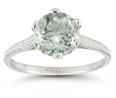 Vintage Leaf Green Amethyst Ring in 14K White Gold