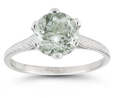 Sterling Silver Vintage Floral Green Amethyst Ring