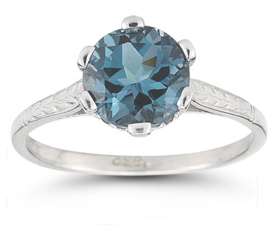 Vintage Leaf London Blue Topaz Ring in 14K White Gold
