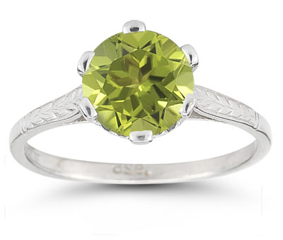 Vintage Leaf Peridot Ring in 14K White Gold