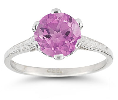 Vintage Leaf Pink Topaz Ring in 14K White Gold