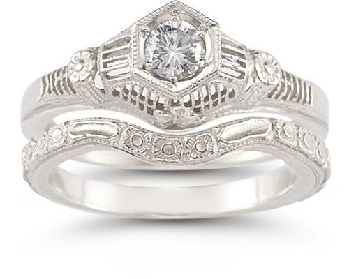 Vintage Flower 14 Carat Diamond Wedding Ring Set