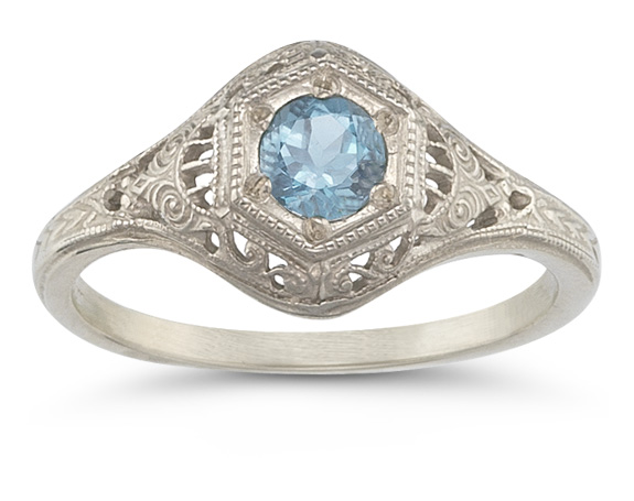 Buy Victorian-Style Aquamarine Ring in 14K White Gold