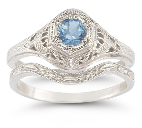 Antique-Style Blue Topaz Wedding Ring Set