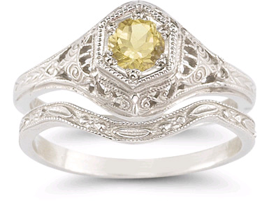 Citrine Bridal Wedding Ring Set in Sterling Silver