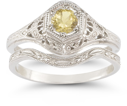 Antique-Style Citrine Wedding Ring Set