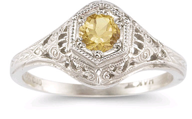Enchanted Citrine Ring in 14K White Gold