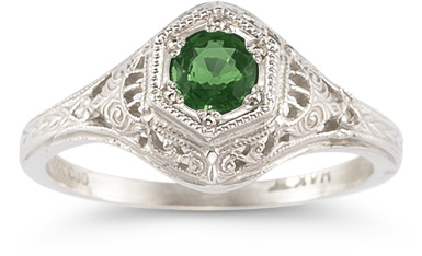 Enchanted Emerald Ring in 14K White Gold, vintage
