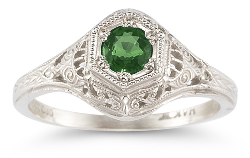 Enchanted Emerald Ring in 14K White Gold