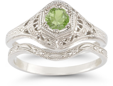 Buy Antique-Style Peridot Wedding Ring Set