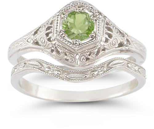 Antique-Style Peridot Wedding Ring Set