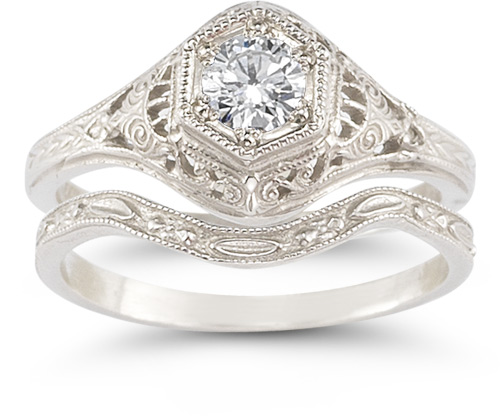 Antique-Style 13 Carat Diamond Wedding Ring Set