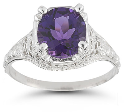 Antique-Style Floral Amethyst Ring in 14K White Gold