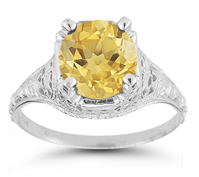 Antique-Style Floral Citrine Ring in 14K White Gold