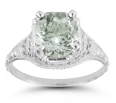 Antique-Style Green Amethyst Floral Ring in 14K White Gold