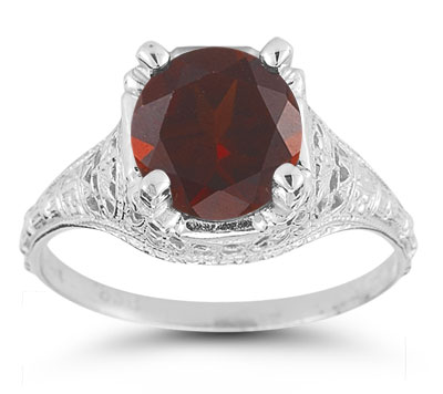 Antique-Style Floral Garnet Ring in 14K White Gold
