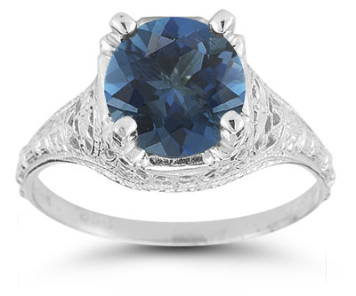 Victorian Costume Jewelry to Wear with Your Dress Antique-Style Floral London Blue Topaz Ring in Sterling Silver $199.00 AT vintagedancer.com